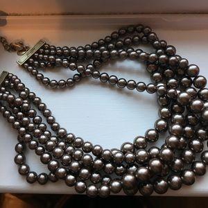 Lia Sophia chocolate multi strand pearl necklace